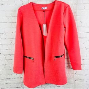 NEW! Bright Coral Open Front Long Blazer Jacket